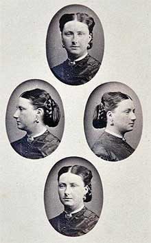 Four profiles of a fashionable hairstyle, c1868