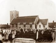 Original sepia print of the Church of St John the Baptist and churchyard, New Alresford, from the south-east, c. 1870