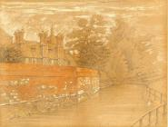 Pencil and crayon drawing. 'The Weirs and Soke House from the Itchen River' by C.B. Phillips. 1902.