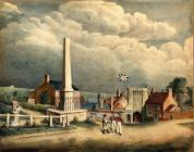 Coloured lithograph. 'The Plague Monument & the Westgate'. 1770 (circa).