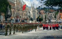Print from original painting of 'Adjutant General's Corps Freedom Parade' by Anthony Cowland, 2008.