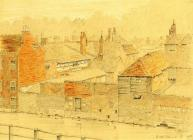 Pencil and crayon drawing. 'View of Buildings on the River Itchen from No. 108 Colebrook Street' by C.B. Phillips. 1905.