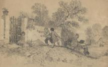 Drawing, pencil drawing, children playing, probably by Elizabeth M Baker, art student, Andover, Hampshire, about 1863.