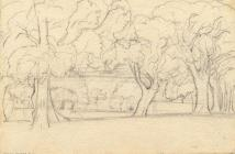 Drawing, pencil drawing, trees in the grounds of Langdown House, Langdown, Hythe and Dibden, Hampshire, by Louise C Hobart, about 1862.