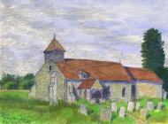 Drawing, coloured crayon, the church at Farley Chamberlayne, Hursley, Hampshire, by E Cook, May 1973.
