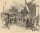 Print, engraving, The Royal Arrival at Farnborough Railway Station, Rushmoor, Hampshire, of Victoria and King Louis Philippe of France, published in the Ilustrated London News, 19 October 1844. The newscutting has a description of the occasion.