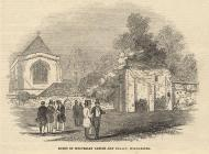 Print, uncoloured engraving, visit of the British Archaeological Institute, to Wolvesey Castle and Palace, Winchester, Hampshire, reported in the Illustrated London News, 20 September 1845.