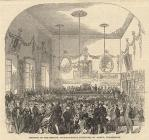 Print, uncoloured engraving, meeting of the British Archaeological Institute, St John's Hall? Winchester, Hampshire, reported in the Illustrated London News, 20 September 1845.
