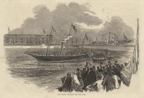 Print, engraving, 'Fairy' Entering the New Basin, Portsmouth Harbour, Portsmouth, Hampshire, published in the Illustrated London News, 3 June 1848.