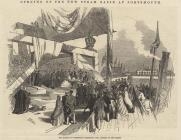 Print, engraving, Mayor of Portsmouth presenting the Address to the Queen, opening the new steam basin, Portsmouth Harbour, Portsmouth, Hampshire, published in the Illustrated London News, 3 June 1848.
