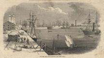 Print, engraving, The New Dock Southampton, Hampshire, published in the Illustrated London News, 17 January 1852. The report is on the reverse.