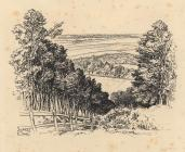 Drawing, pen drawing, view of Selborne, Hampshire, from the Zigzag, drawn by Sydney R Jones.