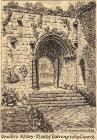 Drawing, pen and wash, Monks' Doorway to the Church, Beaulieu Abbey, Beaulieu, New Forest, Hampshire, by A E Henderson, 1947.