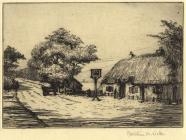 Print, etching, Cat and Fiddle Inn, Hinton Admiral, Bransgore, New Forest, Hampshire, by Christine M Wells, 1900s-10s?