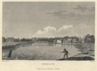 Print, steel engraving, waterside, Emsworth, Havant, Hampshire, drawn by I Nixon, engraved by Comte, published by Edward Harding, 98 Pall Mall, London, 1801. Looking up the River Ems, the Mill Pond, with a man fishing in the foreground. Taken from a jou