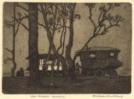 Print, aquatint, New Forest Gypsies, New Forest, Hampshire, by Eric Hesketh Hubbard, early 20th century.