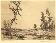 Print, etching, New Forest, Hampshire, by Christine M Wells, 1900s-10s?