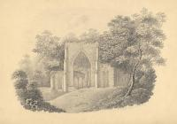 Drawing, pencil drawing, ruins of Netley Abbey, Hound, Hampshire, by MF, 1827.