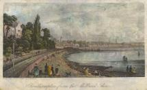 Print, hand coloured engraving, sea shore at Millbrook, Southampton, Hampshire, drawn, engraved and published by P Brannon, 1840s-50s. The Southampton and Dorchester Railway runs in the foreground, a train approaching from Southampton; the railway opene
