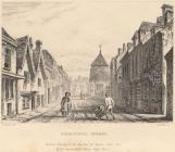 Print, engraving, Cheesehill Street ie Chesil Street, Winchester, Hampshire, drawn by G Carter, engraved by J Le Keux, published for James Robbins College Street, Winchester, by D E Gilmour, Public Library, High Street, Winchester, Hampshire, 1830s-40s.