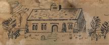 Drawing, pen, old church at Chilton Candover, Hampshire, early 20th century?