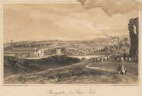Print, lithograph, Basingstoke from Chapel Field, ie from the north, lithographed by Newman and Co, 48 Watling Street, London, published by G Pidgeon, bookseller, Basingstoke, Hampshire, 1840s? The picture has Basingstoke Station and the London and Sout