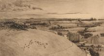 Print, etching, St Catherine's Hill and the River Itchen, Winchester area, Hampshire, by Heywood Sumner, 1880. Published in The Itchen Valley, plate 15.