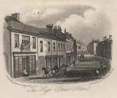 Print, engraving, High Street, Alton, Hampshire, engraved by Newman and Co, 48 Watling Street, London, published by R King, stationer, Southampton, Hampshire, mid 19th century? The nearest shop on the left is a King's 'PRINTING OFFICE' dealing in books,