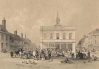 Print, lithograph, town hall and Market Place, Basingstoke, drawn by O B Carter, architect, Winchester, lithographed by G Hawkins, printed by Day and Haghe, London, published by Robert Cottle, bookseller, Basingstoke, Hampshire, 1841.
