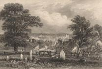 Print, engraving, Basingstoke from Chapel Hill, Hampshire, drawn by G H Shepherd, engraved by J Shury and Son, published 1840s?