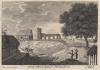 Print, engraving, Holy Ghost Chapel, Basingstoke, Hampshire, drawn by Godfrey, 1772, published by W Bent, 1787. The picture now has a man carrying a bundle of sticks and a woman with a bundle on her head, and the tree on the right is more fully clothed