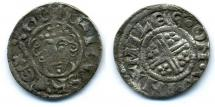 Coin, English, penny, short cross penny, silver, issued by Henry II, moneyer, Miles, at Winchester, Hampshire, 1180 to 1189.