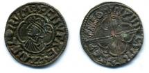 Coin, Anglo-Saxon, silver, issued by Cnut, moneyer, Sewine, at Winchester, Hampshire, 1016 to 1035.