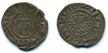 Coin, English, short cross, silver, issued by John, moneyer, Henri, at Winchester, Hampshire, 1205 to 1218.