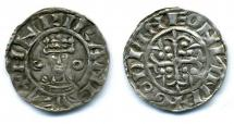 Coin, English, silver, issued by Henry I, moneyer, Godwine, at Winchester, Hampshire, 1100 to 1135.