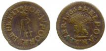 Token, copper alloy, issued at Andover, Hampshire, 1666.