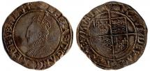 Coin, English, silver, found at Winchester, Hampshire, issued by Elizabeth I, 1590 to 1592.