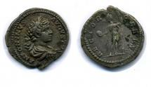 Coin, Roman, silver, found at Rowlings Road, Weeke, Winchester, Hampshire, issued by Septimius Severus, 193 to 211.