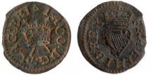 Coin, farthing, Harrington farthing, copper, issued by James I, at London, 1603 to 1625.