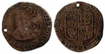 Coin, silver, issued by Charles I, around 1638.
