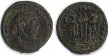 Coin, Roman, bronze, found at Saxon Road, Winchester, Hampshire, issued by Constantine I, 306 to 337.