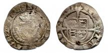 Coin, halfgroat, excavated at Winchester, Hampshire, issued by Henry VIII, at York, North Yorkshire, circa 1544 to 1547.