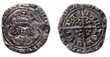 Coin, halfgroat, excavated at Winchester, Hampshire, issued by Henry VII, at Canterbury, Kent, 1485 to 1509.