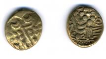 Coin, ancient British, stater, gold, found at Dean Farm, Funtley, Fareham, Hampshire, issued 65BC to 58BC.