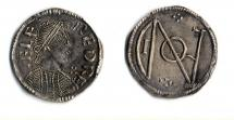 Coin, Anglo-Saxon, silver, found at Otterbourne, Hampshire, issued by Alfred, at London, 871 to 899.
