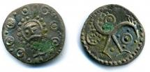 Coin, Anglo-Saxon, sceat, silver, found at North End Farm, Lyes Field, Cheriton, Hampshire, issued 720 to 749.