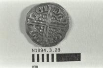 Coin, penny, part of a hoard found at White Lane, Greywell, Mapledurwell and Up Nately, Hampshire in 1989, issued by Henry III, minted by the moneyer Davi in London, 1251-1272