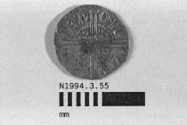 Coin, penny, part of a hoard found at White Lane, Greywell, Mapledurwell and Up Nately, Hampshire in 1989, issued by Henry III, minted by the moneyer Ricard in London, 1251-1272