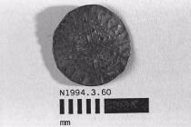Coin, penny, part of a hoard found at White Lane, Greywell, Mapledurwell and Up Nately, Hampshire in 1989, issued by Henry III, minted by the moneyer Walter in London, 1251-1272