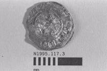 Coin, penny, part of a hoard found by metal detector at Portsdown Hill, near Portchester, Fareham, Hampshire, 1995, issued by Stephen, 1135-1154, minted by the moneyer Alfric or Wulfric at Norwich, Norfolk or Sandwich, Kent, 1135-1154